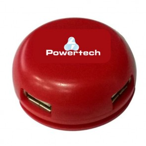 POWERTECH USB 2.0V Hub, 4 Port, Red