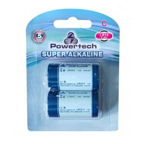 POWERTECH SUPER Αλκαλική μπαταρία LR14, 1.5V, 2τμχ