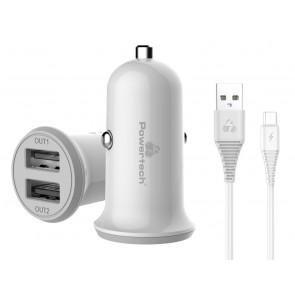 POWERTECH Φορτιστής αυτοκινήτου & καλώδιο Micro USB PT-772, 2x USB, 3.4A
