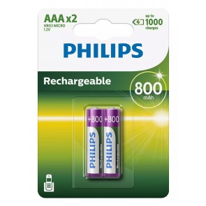 PHILIPS επαναφορτιζόμενη μπαταρία R03B2A80 800mAh, AAA HR03 Micro, 2τμχ