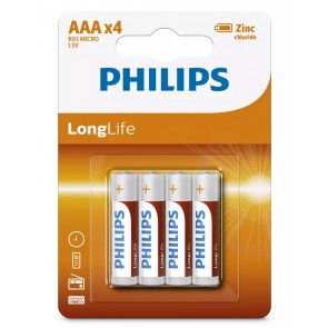 PHILIPS LongLife Zinq chloride μπαταρίες R03L4B/10 AAA R03 Micro, 4τμχ