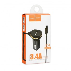 HOCO car charger set single port with micro cable Z14 black