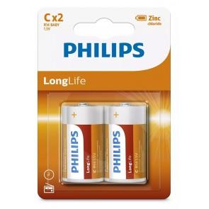 PHILIPS LongLife Zinq chloride μπαταρίες R14L2B/10, R14 1.5V, 2τμχ