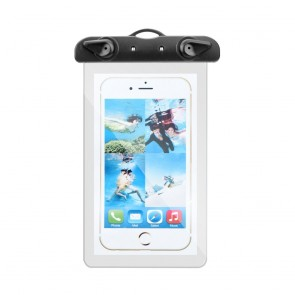 Waterproof bag for mobile phone with plastic closing - transparent with black closing