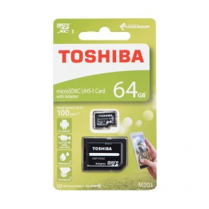 Memory Card Toshiba microSDHC M203 64GB CLASS 10 UHS I U1 100MB/s with adapter SD