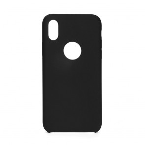Forcell Silicone Case for IPHONE X black (with hole)