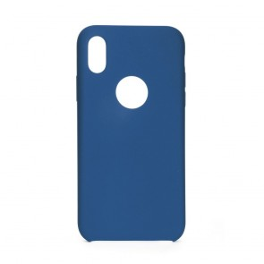 Forcell Silicone Case Iphone X dark blue (with hole)