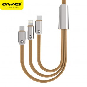 Cable AWEI CL21 (zine - alloy) 3 in 1 / 1.5M gold