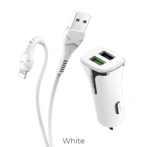 HOCO car charger Universe double port QC3.0 with cable Apple for iPhone Lightning 8-pin Z31 white