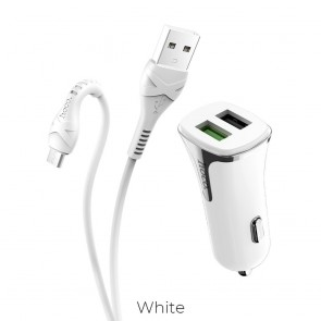 HOCO car charger Universe double port QC3.0 with cable Micro Z31 white