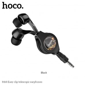HOCO eaphones Easy clip telescopic M68 black