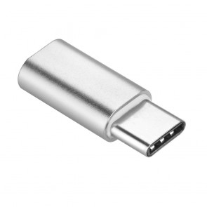 Adapter charger Micro USB / MicroUSB TYPE C silver