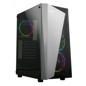 ZALMAN PC case S4 Plus, mid tower, 400x206x458mm, 3x fan, διάφανο πλαϊνό