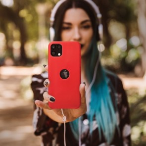 Forcell Silicone Case for IPHONE 12 / 12 PRO red (with hole)
