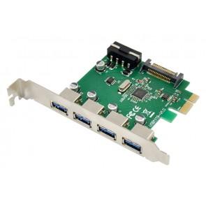 POWERTECH κάρτα επέκτασης PCIe σε 4x USB 3.0 ST66, VL805 + RTL8153