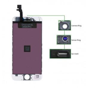 TIANMA High Copy LCD για iPhone 6G, Camera-Sensor ring, ear mesh, White