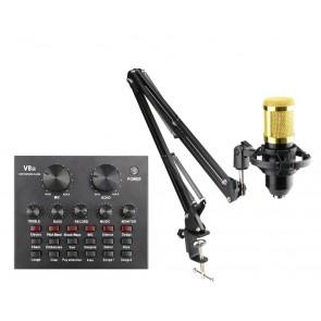 Επαγγελματικό πυκνωτικό μικρόφωνο με κονσόλα V8-CONT-SET, μαύρο-χρυσό